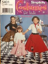 Simplicity Sewing Pattern Costume 5401 50's Poodle Circular Skirt Childs 3 4 5 6