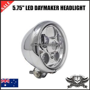 """Chrome 5.75"""" LED daymaker headlight Harley sportster cafe racer chopper Yamaha"""