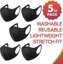 Pack 5 Face Mask Black Reusable Washable Breathable Dust Mouth Cover Adult