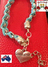 BLUE N SILVER INTERTWINDED GODDAUGHTER BRACELET GREAT GIFT IDEA AUS 158W