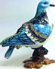 Taube Blau Sammlerstück Figur Pillendose Geschenk Box Deko Schmuck Schatulle