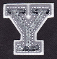 """LETTERS - Silver  Sequin  2"""" Letter """"Y"""" - Iron On Embroidered Applique"""