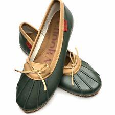 Chooka Womens Sz 10 M Duck Skimmer Green Tan Low Top Rain Boots Shoes EUC
