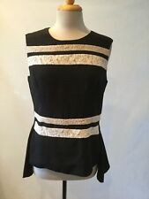 NWT-NEIMAN MARCUS SLEEVELESS PEPLUM BLOUSE WITH LACE BAND TRIM-ORIG MSRP $182