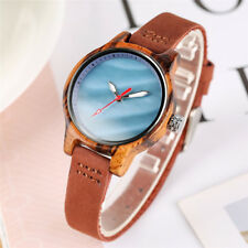 Novel Watch Women's Natural Wooden Wrist Watches Quartz Leather Band Fashion