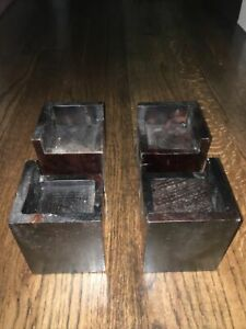 Set Of 4 Wooden Bed Risers Red Mahogany Color Block Square Stackable