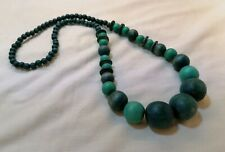 Dyed Turquoise Graduated Wooden Wood Bead Necklace