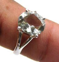 3.40 Gm 925 Sterling Silver Wonderful Green Amethyst Cut Stone Ring 8.5 US M-794