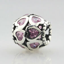 Pandora .925 Sterling Silver Charm Jewelry Pink Heart
