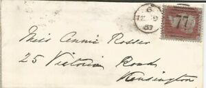 GB QV 1857 LOCAL LONDON COVER PENNY RED STAR 'CD' MOORGATE STREET TO KENSINGTON