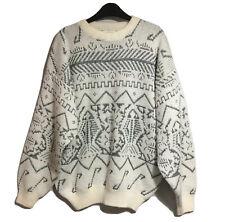 RARE AUTHENTIC JARGON VTG 90s Sweater RETRO GRUNGE HIP HOP ART TO WEAR Boxy M