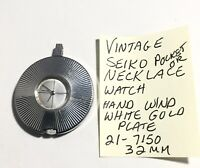 Vintage Seiko White Gold Plate Necklace Or Pocket Watch Hand Wind Running 32mm