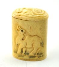 Vintage Chinese Bone Hand Carved Carving Treasure Jewlery Snuff Box Camel Bamboo