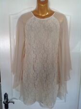 River Island Cream Lace Dress With Bat Wing Sleeves Size 10