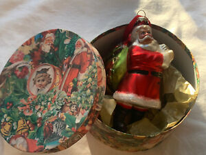 Father Christmas/ Santa Claus Glass Christmas Bauble/ Decoration In Box