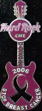 Hard Rock Cafe CARACAS 2006 BREAST CANCER Awareness Ribbon GUITAR PIN HRC #35999