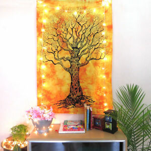 Tapestry Yellow Dry Tree Jungle Poster Wall Hanging Small Decor Hippie Throw Art