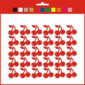 Small Cherries Vinyl Stickers Fruit Shapes self adhesive sheet of 30