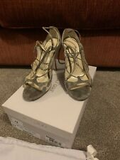 Jimmy Choo Boutique Grey Karung Snakeskin Strappy Heels, 37, 4, Box & Dustbag
