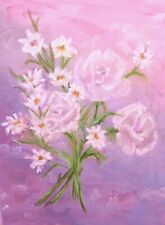 """Transparent Pink Roses"" Original Oil Painting Floral Pink Daisies Leaves Stems"