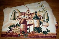 #3254 TUSCANY WINE THEMED 4 PC Wipeable Vinyl PLACEMAT SET