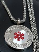 Ladies Stainless Steel Life Saving Medical Alert SOS CZ Necklace FREE ENGRAVING