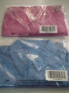 QVC  2 x Denim & Co. Solid Crepe Short Sleeve Blouses Shirts Pink & Blue Size XS