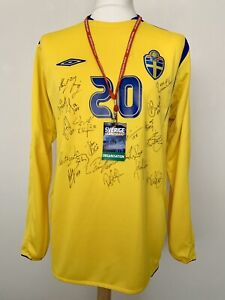 Sweden 2006-2008 home Espoirs #20 match worn Umbro football shirt jersey maillot