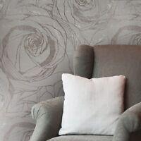 Wallpaper bronze Gold Metallic Textured Modern Rolls large flowers floral Roses