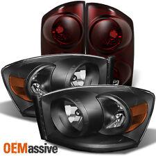 2007-2008 Ram 1500 2007-2009 Ram 2500 3500 Black Headlights+Dark Red Tail Lights