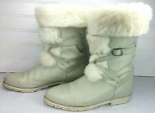 Vintage Blondo Gray Leather w/White Fur Apres Ski Snow Boots Shearling Womens 8D