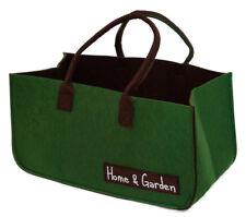 Filztasche dunkelgrün u. braun Einkaufskorb Tasche Kaminholztasche Leergutkorb