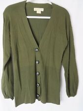 Michael Kors Cardigan Sweater V Neckline Button Look Snap Front Green XS #5999