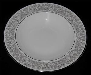 "Rosenthal VENETIAN 3152, Gray Leaves, Flowers, Wide Rimmed Soup Bowl, 8 1/4"""