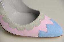 Nuevo Manolo Blahnik Kadiya Rosa Azul de ante Beige Zapatos 40.5 41 41.5 42 Boda