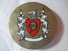 BELT BUCKLE LARGE GRIFFIN CREST KNIGHT WHITE RED ENAMEL SHIELD