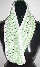 Hand Crochet Green/White Loop Infinity Circle Scarf/Neckwarmer New