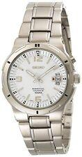 *BRAND NEW* Seiko Men's White Dial Silver Stainless Steel Bracelet Watch SNQ075