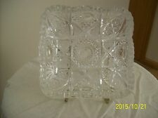 Imperial Antique Nucut Crystal Hobstar & Shield Saw Tooth Square Serving Dish