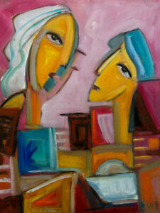 "Original Art Portrait Oil Painting on Stretched Canvas 20"" x 16"""