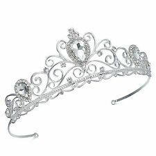 TQE95 Clear Rhinestone Alloy Tiara Crown Pageant Bridal Wedding Party Prom Gift