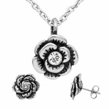Rose Necklace & Earrings Bloom Flower Jewerly Set and Swarovski Crystal Controse
