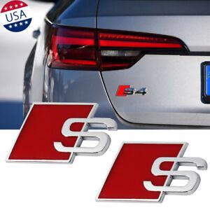 2x Silver Red S Line Alloy Emblem 3D S Logo Tailgate Fender Badge Trim For Audi