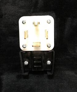 60 Amp 125/250-Volt Straight Blade Grounding Angle Plug, Black/White Levitron