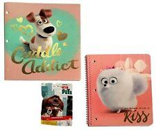 The Secret Life of Pets 1 Subject Notebook Vinyl Portfolio Folder Eraser Lot NEW