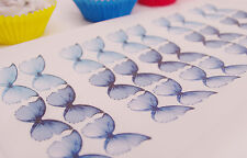 BLUE Butterfly Cake Topper Princess 30pc Edible Rice Paper Christening 40th 50th