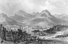 China, Hong Kong Victoria Harbour Kowloon ~ Old 1842 Art Print Engraving Rare !