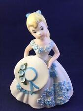 Vintage Lefton Girl With Hat Figurine-3139-white dress with blue flowers-blonde