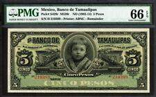 Mexico 1902-1914, Banco de Tamaulipas 5 Pesos, S429r, PMG 66 EPQ GEM UNC