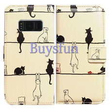 Bcov Black Cat White Cat Leather Wallet Cover Case For Samsung Galaxy S8